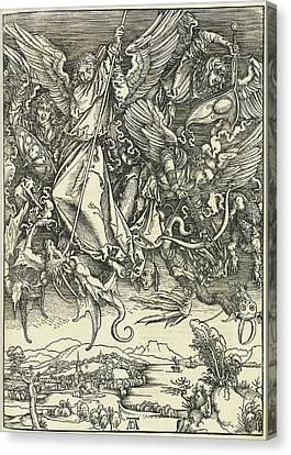 Albrecht Dürer, Saint Michael Fighting The Dragon Canvas Print by Quint Lox