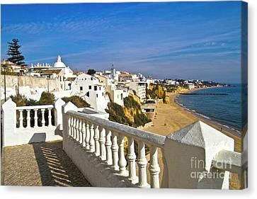 Albufeira Village By The Sea Canvas Print by Heiko Koehrer-Wagner