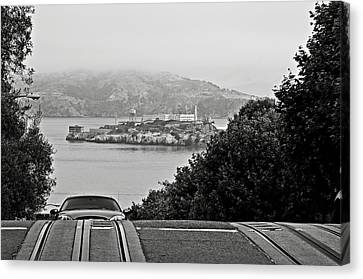 Alcatraz Island From Hyde Street In San Francisco Canvas Print by RicardMN Photography