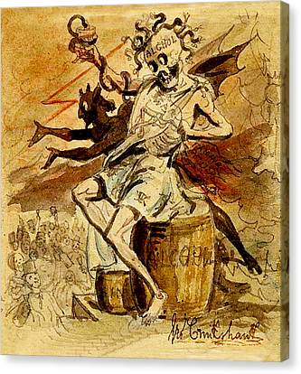Alcohol Death And The Devil Canvas Print by George Cruikshank