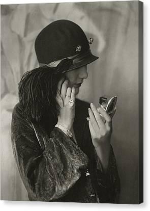 Cloche Hat Canvas Print - Alden Gay Wearing A Hat And Cartier Jewellery by Edward Steichen