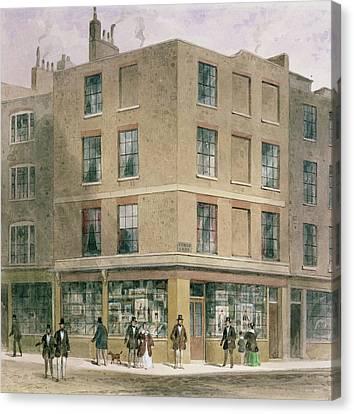 Alderman Moons Print Shop, Wc On Paper Canvas Print by Thomas Hosmer Shepherd