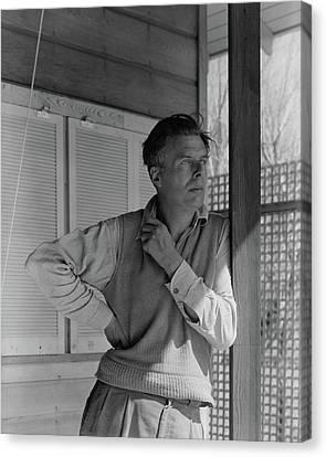 Aldous Huxley On A Porch Canvas Print by George Platt Lynes