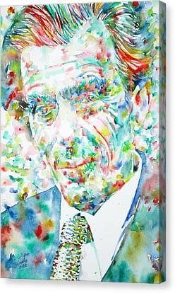 Aldous Huxley - Watercolor Portrait Canvas Print by Fabrizio Cassetta