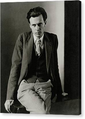 Aldous Huxley Wearing A Three-piece Suit Canvas Print by Charles Sheeler