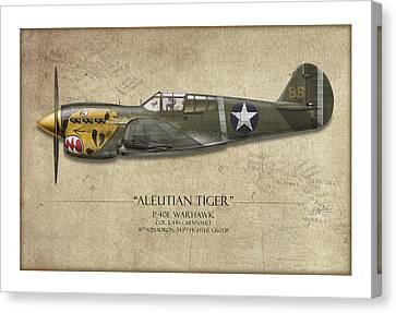 Aleutian Tiger P-40 Warhawk - Map Background Canvas Print by Craig Tinder