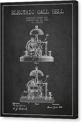 Alexander Bell Electric Call Bell Patent From 1881 - Dark Canvas Print by Aged Pixel