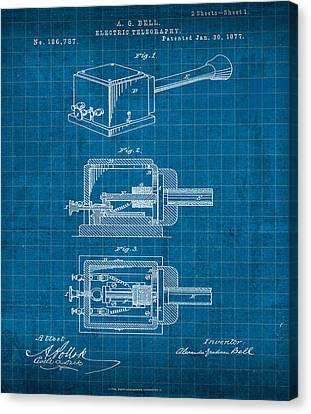 Alexander Graham Bell Electric Telegraphy Patent 1877 Canvas Print by Design Turnpike
