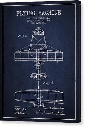 Alexander Graham Bell Flying Machine Patent From 1913 - Navy Blu Canvas Print