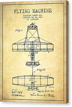 Alexander Graham Bell Flying Machine Patent From 1913 - Vintage Canvas Print