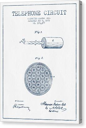 Alexander Graham Bell Telephone Circuit Patent From 1876 - Blue  Canvas Print