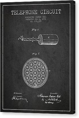 Alexander Graham Bell Telephone Circuit Patent From 1876 - Dark Canvas Print