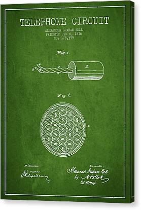 Alexander Graham Bell Telephone Circuit Patent From 1876 - Green Canvas Print