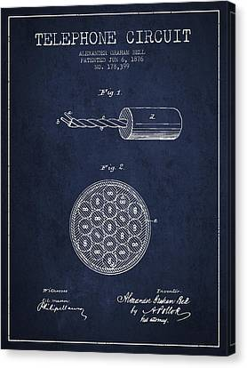 Alexander Graham Bell Telephone Circuit Patent From 1876 - Navy  Canvas Print by Aged Pixel