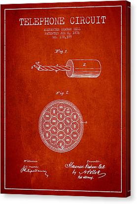 Alexander Graham Bell Telephone Circuit Patent From 1876 - Red Canvas Print