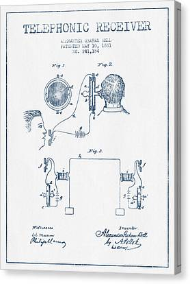Alexander Graham Bell Telephonic Receiver Patent From 1881  - Bl Canvas Print
