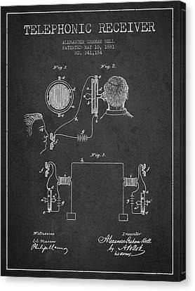 Alexander Graham Bell Telephonic Receiver Patent From 1881- Dark Canvas Print by Aged Pixel