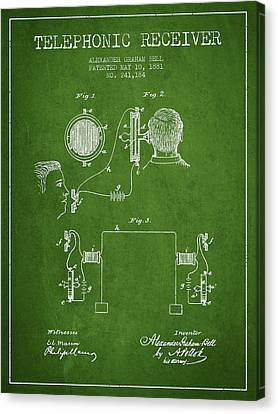 Alexander Graham Bell Telephonic Receiver Patent From 1881- Gree Canvas Print
