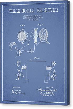 Alexander Graham Bell Telephonic Receiver Patent From 1881- Ligh Canvas Print