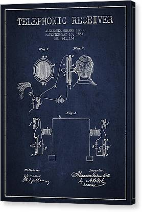 Alexander Graham Bell Telephonic Receiver Patent From 1881- Navy Canvas Print