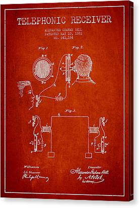 Alexander Graham Bell Telephonic Receiver Patent From 1881- Red Canvas Print by Aged Pixel