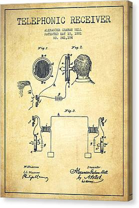Alexander Graham Bell Telephonic Receiver Patent From 1881- Vint Canvas Print by Aged Pixel