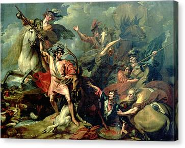 Alexander IIi Of Scotland Rescued From The Fury Of A Stag By The Intrepidity Of Colin Fitzgerald Canvas Print by Benjamin West
