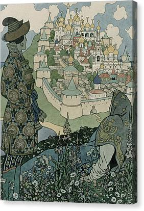 Alexander Pushkin's Fairytale Of The Tsar Saltan Canvas Print by Ivan Jakovlevich Bilibin