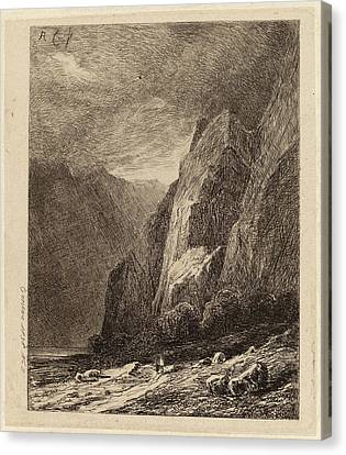 Alexandre Calame, Cliffs In A Storm, Swiss Canvas Print by Quint Lox