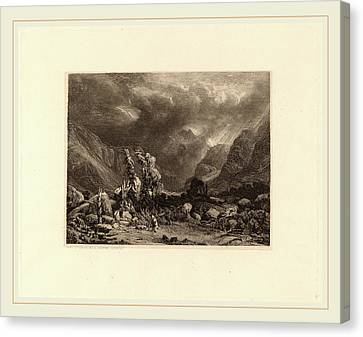 Alexandre Calame, Storm In The Mountains Canvas Print by Litz Collection
