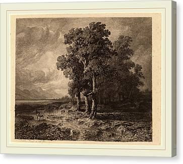 Alexandre Calame, Trees In A Storm, Swiss Canvas Print by Litz Collection