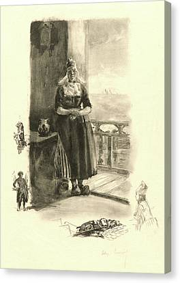 Alexandre Lunois French, 1836 - 1916. Au Bord De Zuyder Zee Canvas Print by Litz Collection
