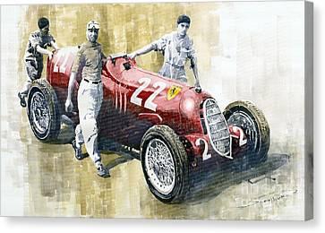 Alfa Romeo 12c-36 Tazio Nuvolari Coppa Ciano Race 1937 Canvas Print by Yuriy  Shevchuk