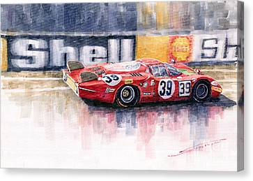 Alfa Romeo T33 B2 Le Mans 24 1968 Galli Giunti Canvas Print by Yuriy  Shevchuk
