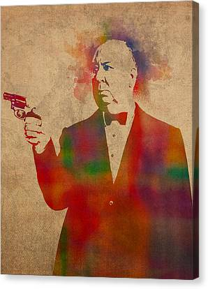 Alfred Hitchcock Watercolor Portrait On Worn Parchment Canvas Print by Design Turnpike