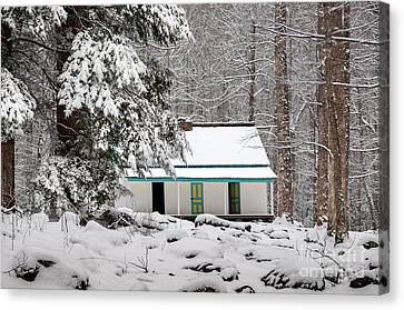 Canvas Print featuring the photograph Alfred Reagan's Home In Snow by Debbie Green