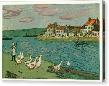 Riviere Canvas Print - Alfred Sisley French, 1839  1899 , Banks Of The River Les by Litz Collection