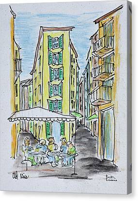 Alfresco Dining In Old Nice, Nice Canvas Print