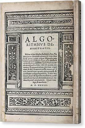 Algorithmus Demonstratus (1534) Canvas Print by Library Of Congress