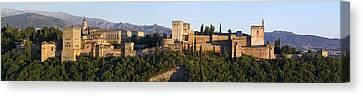 Canvas Print featuring the photograph Alhambra Palace - Panorama by Nathan Rupert