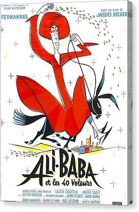 1950s Poster Art Canvas Print - Ali-baba And The Forty Thieves, Aka by Everett