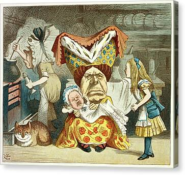 Alice And The Duchess Canvas Print by British Library