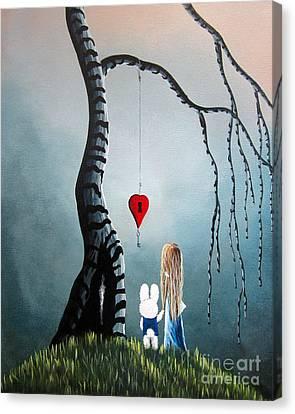 Alice In Wonderland Original Artwork - Alice And The Enchanted Key Canvas Print by Shawna Erback
