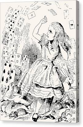 Alice Attacked By Cards Canvas Print by John Tenniel