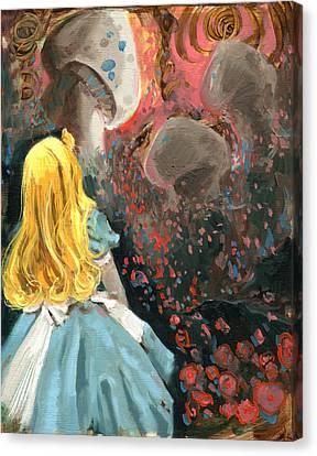 Alice In Mushroom Acres Canvas Print by Luis  Navarro