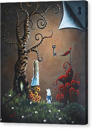 White Flower Canvas Print - Alice In Wonderland Original Artwork - Key To Wonderland by Shawna Erback