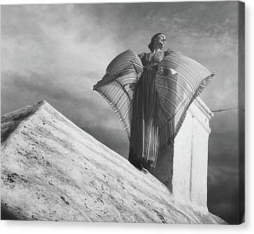 Windswept Canvas Print - Alice-leone Moats Wearing A Striped Dress by Horst P. Horst