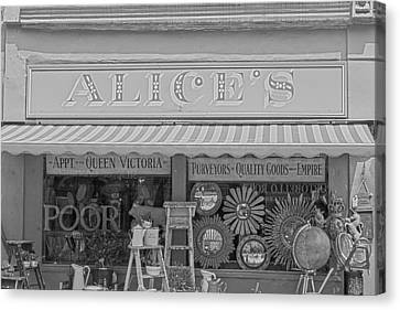 Alice's Antiques In Black And White Canvas Print by Georgia Fowler