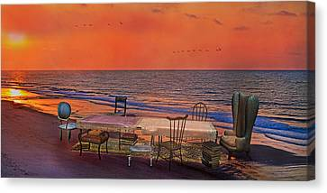 Beach Chair Canvas Print - Alice's Topsail Island Tea by Betsy Knapp