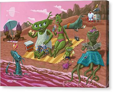 Alien Beach Vacation Canvas Print by Martin Davey